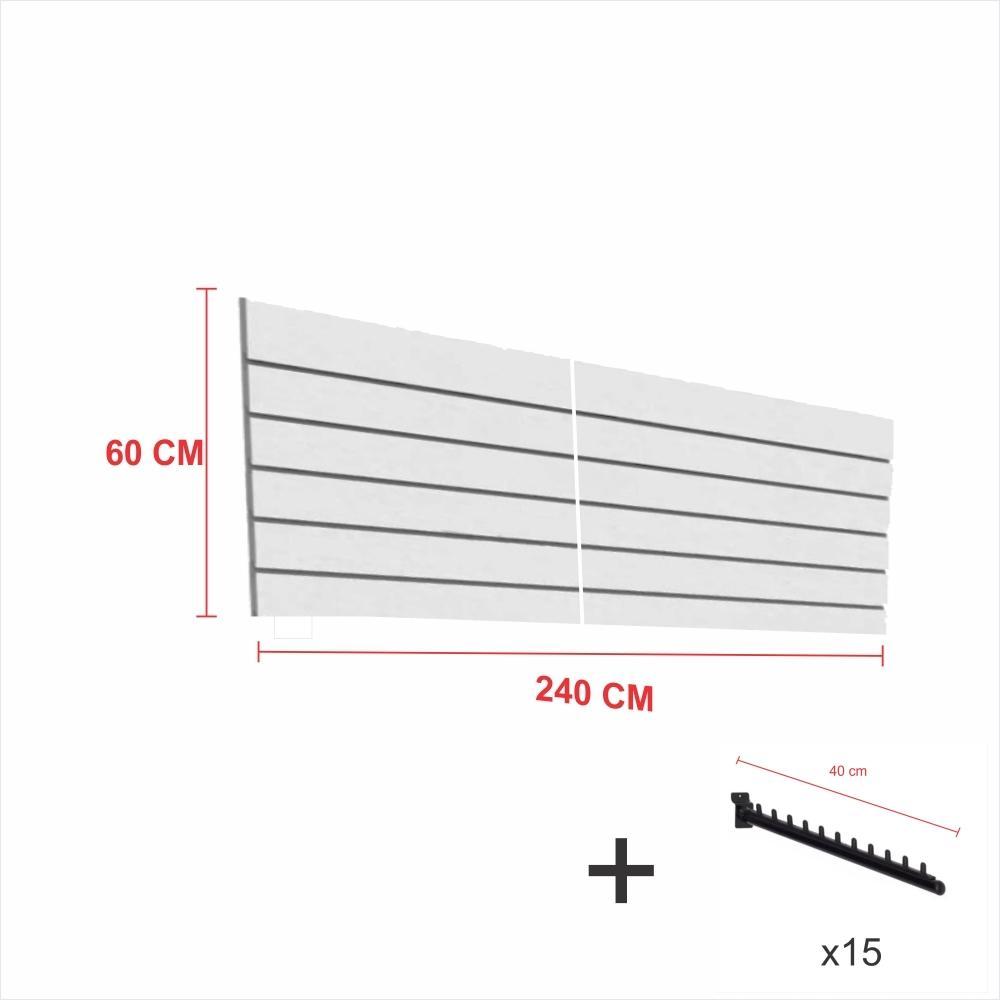 Expositor canaletado cinza alt 60 cm comp 240 cm mais 15 ganchos rt 40 cm para roupas