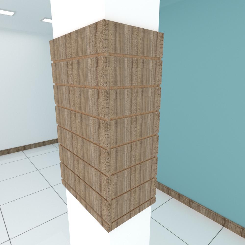 Kit 4 Painel canaletado para pilar amadeirado escuro 2 peças 54(L)x90(A)cm + 2 peças 30(L)x90(A)cm