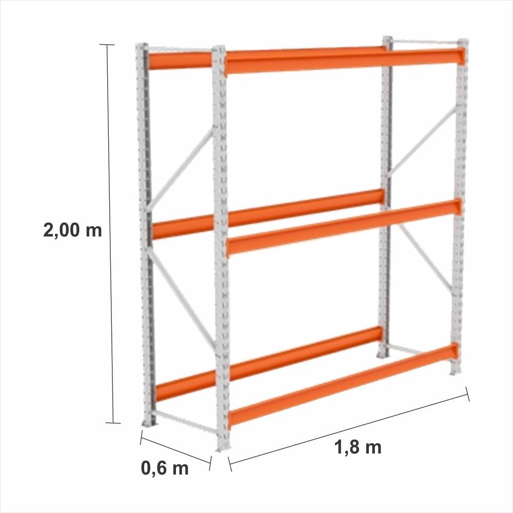 Gondola Mini Porta Pallet Inicial 250KG Com 3 niveis 2,00X1,80X0,60 Sem Bandeja