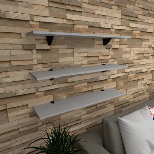 Kit 3 prateleiras para sala em MDF suporte tucano cinza 90x20cm modelo pratslc09