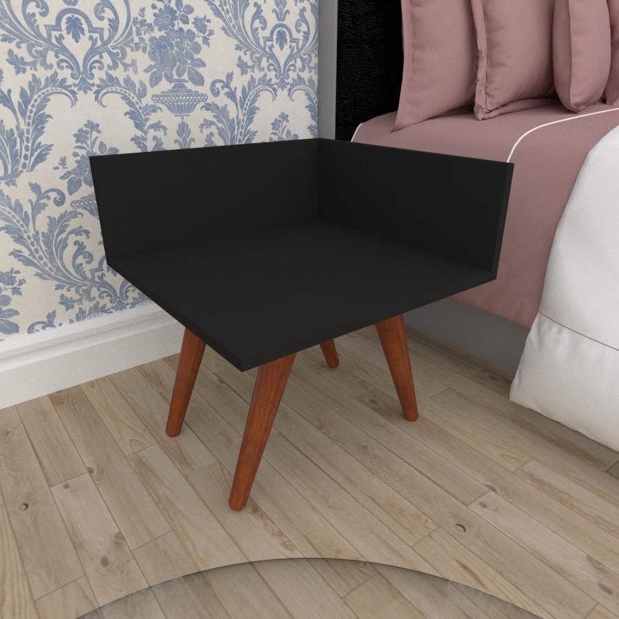 Mesa de Cabeceira simples em mdf preto com 4 pés inclinados em madeira maciça cor mogno