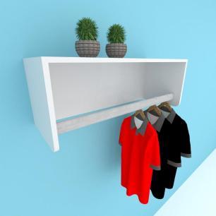 Kit com 2 Prateleira cabide para closet, mdf Cinza