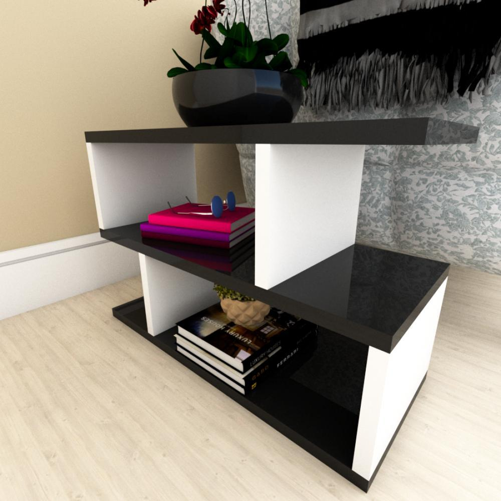 Kit com 2 Mesa de cabeceira preto com branco