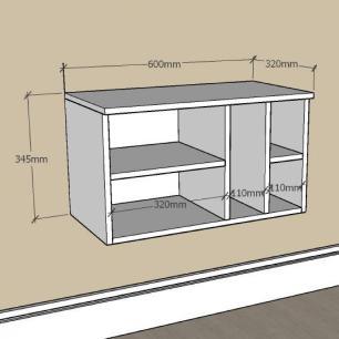 Mesa de Cabeceira suspenso com nichos em mdf Cinza