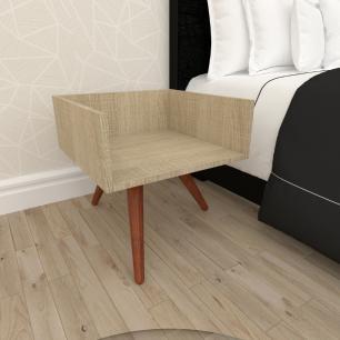 Mesa de Cabeceira minimalista mdf amadeirado claro com 3 pés inclinados em madeira maciça cor mogno