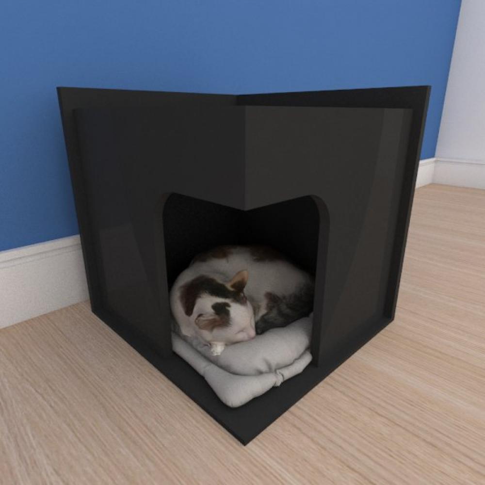 Mesa de cabeceira caminha slim pequeno gato em mdf preto