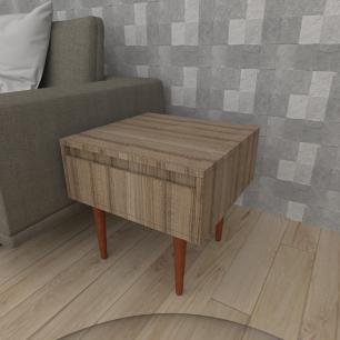 Mesa lateral com gaveta em mdf amadeirado escuro com 4 pés retos em madeira maciça cor mogno