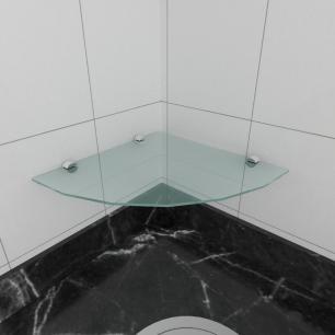 kit com 1 Prateleira para canto de vidro temperado para cozinha profundidade 30 cm