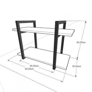 Mini estante industrial para escritório aço cor preto mdf 30cm cor amadeirado claro modelo ind02acep