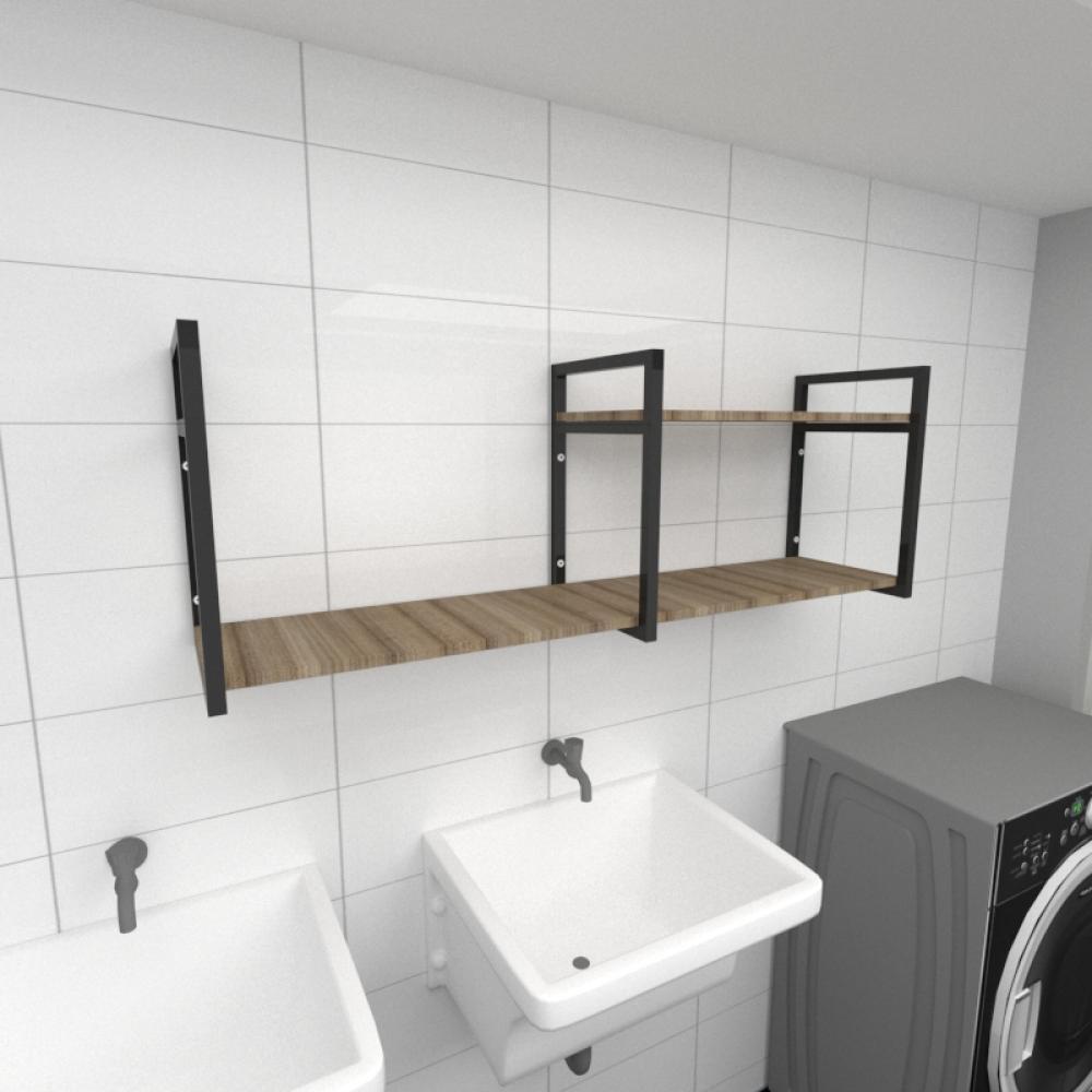 Prateleira industrial para lavanderia aço cor preto mdf 30cm cor amadeirado escuro modelo ind07aelav