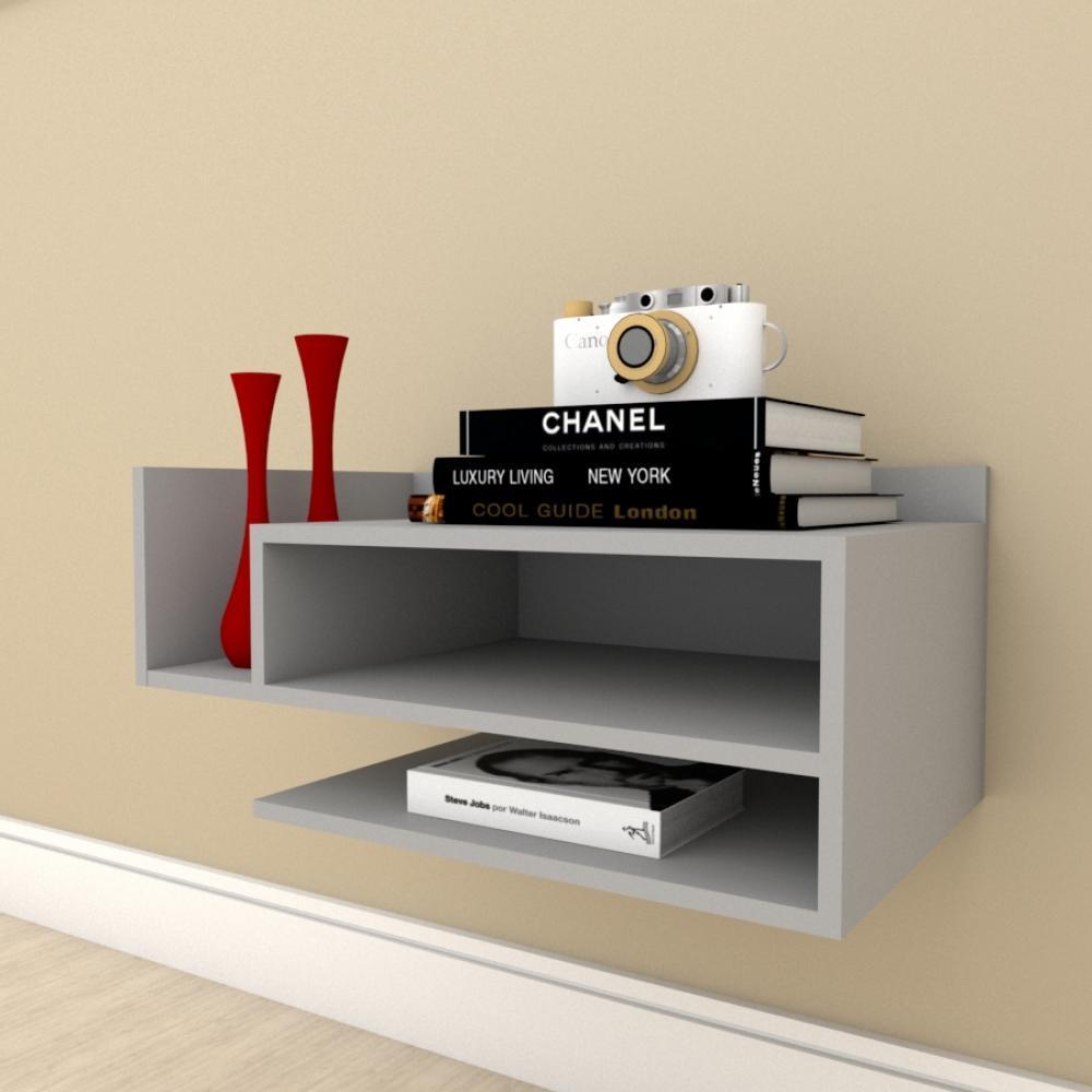 Estante Livros simples com nichos em mdf Cinza