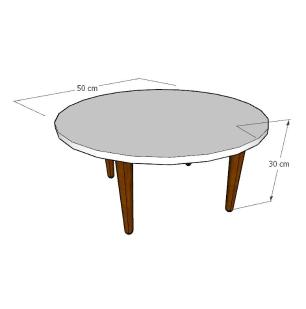 Mesa de Centro redonda em mdf branco com 4 pés retos em madeira maciça cor tabaco