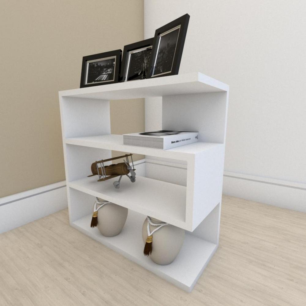 Mesa Lateral para sofá moderna com 3 niveis em mdf Branco