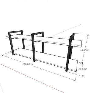 Prateleira industrial para lavanderia aço cor preto mdf 30cm cor amadeirado escuro modelo ind05aelav