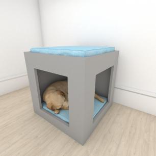 bercinho para cachorro em mdf Cinza