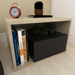 Estante de Livros moderna preto com amadeirado claro