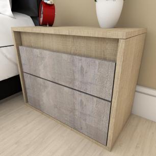Mesa de cabeceira moderna rustico com amadeirado claro