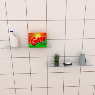Kit com duas Prateleira para lavanderia 50 cm vidro temperado