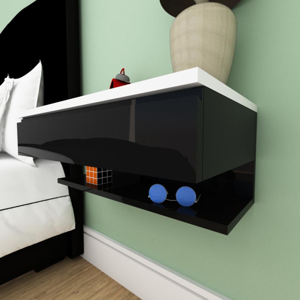 Mesa de cabeceira moderna preto com branco