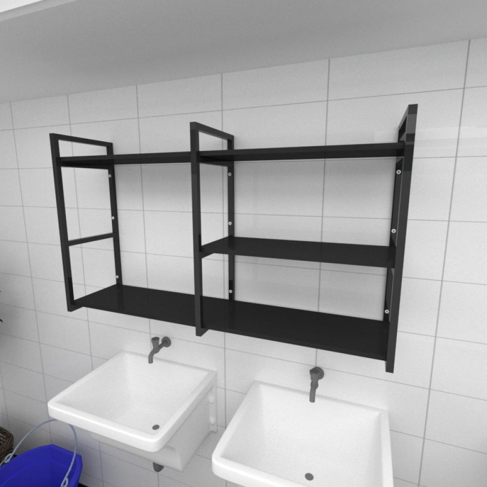 Prateleira industrial para lavanderia aço cor preto prateleiras 30 cm cor preto modelo ind14plav
