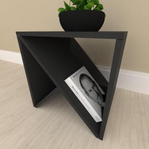 Mesa lateral sofá design, mesa de canto, em mdf Preto