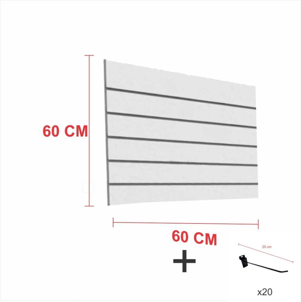 Expositor canaletado cinza alt 60 cm comp 60 cm mais 20 ganchos 20 cm