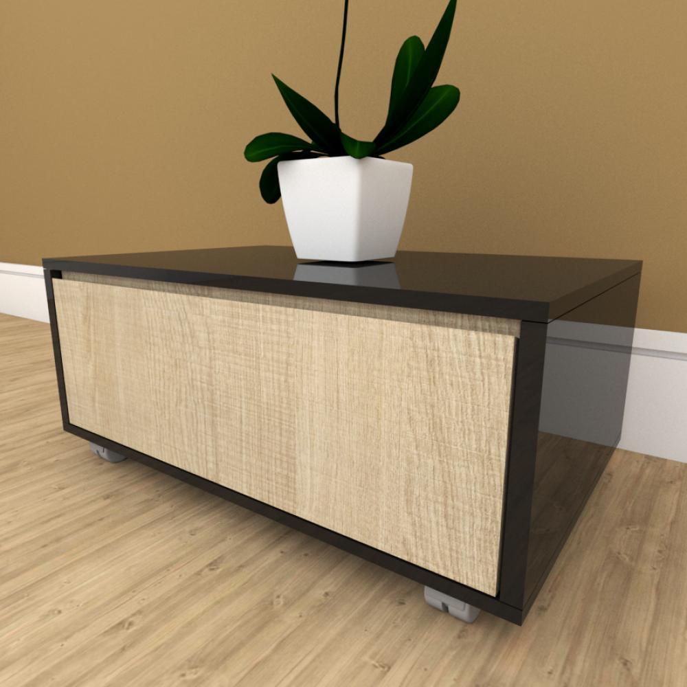 Mesa de cabeceira amadeirado claro com preto