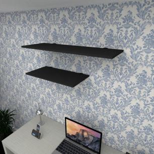 Kit 2 prateleiras escritório em MDF suporte tucano preto 1 60x30cm 1 90x30cm modelo pratesp14