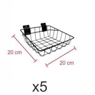 Kit com 5 Cestos para painel canaletado 20x20 cm preto