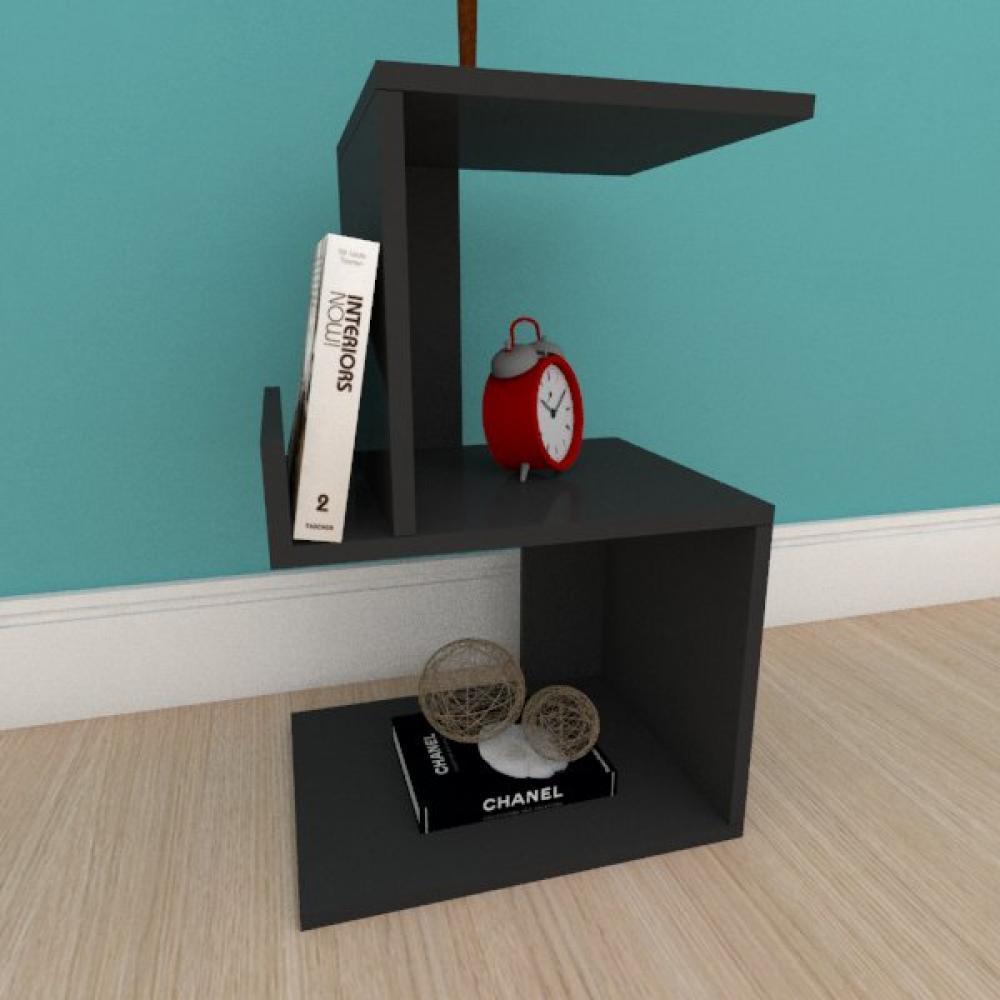 Mesa de cabeceira com suporte para livros em mdf preto