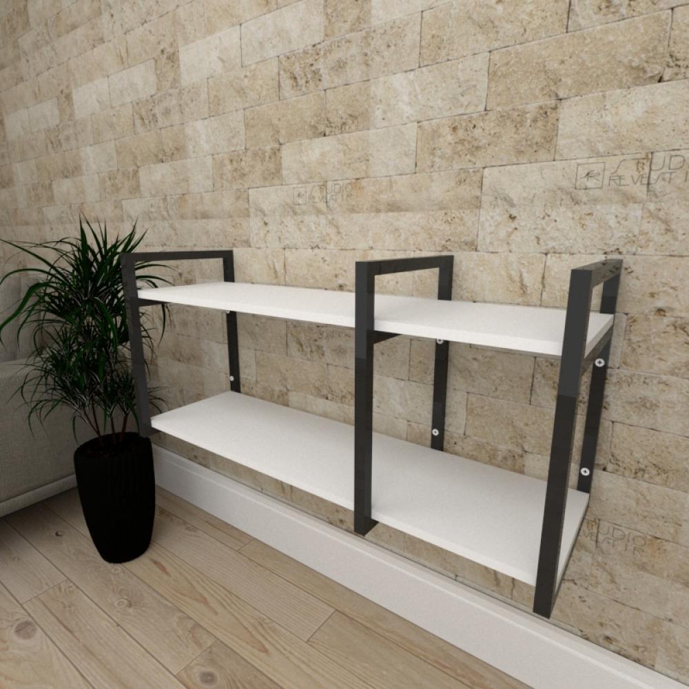 Mini estante industrial para escritório aço cor preto prateleiras 30cm cor branca modelo ind21bep