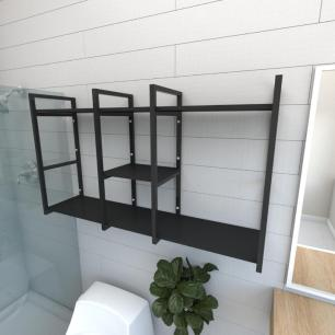 Prateleira industrial para banheiro aço cor preto prateleiras 30 cm cor preto modelo ind18pb