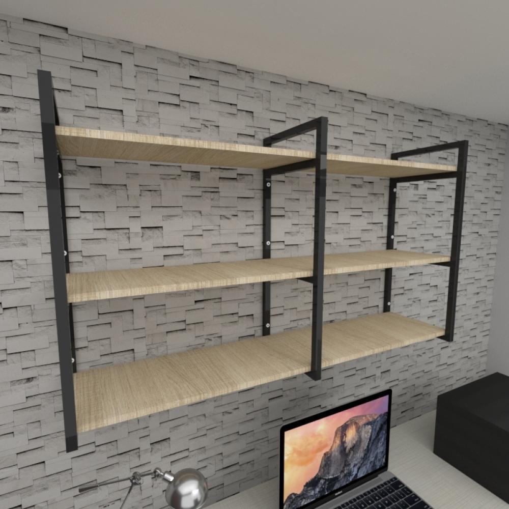 Prateleira industrial para escritório aço cor preto mdf 30 cm cor amadeirado claro modelo ind11aces
