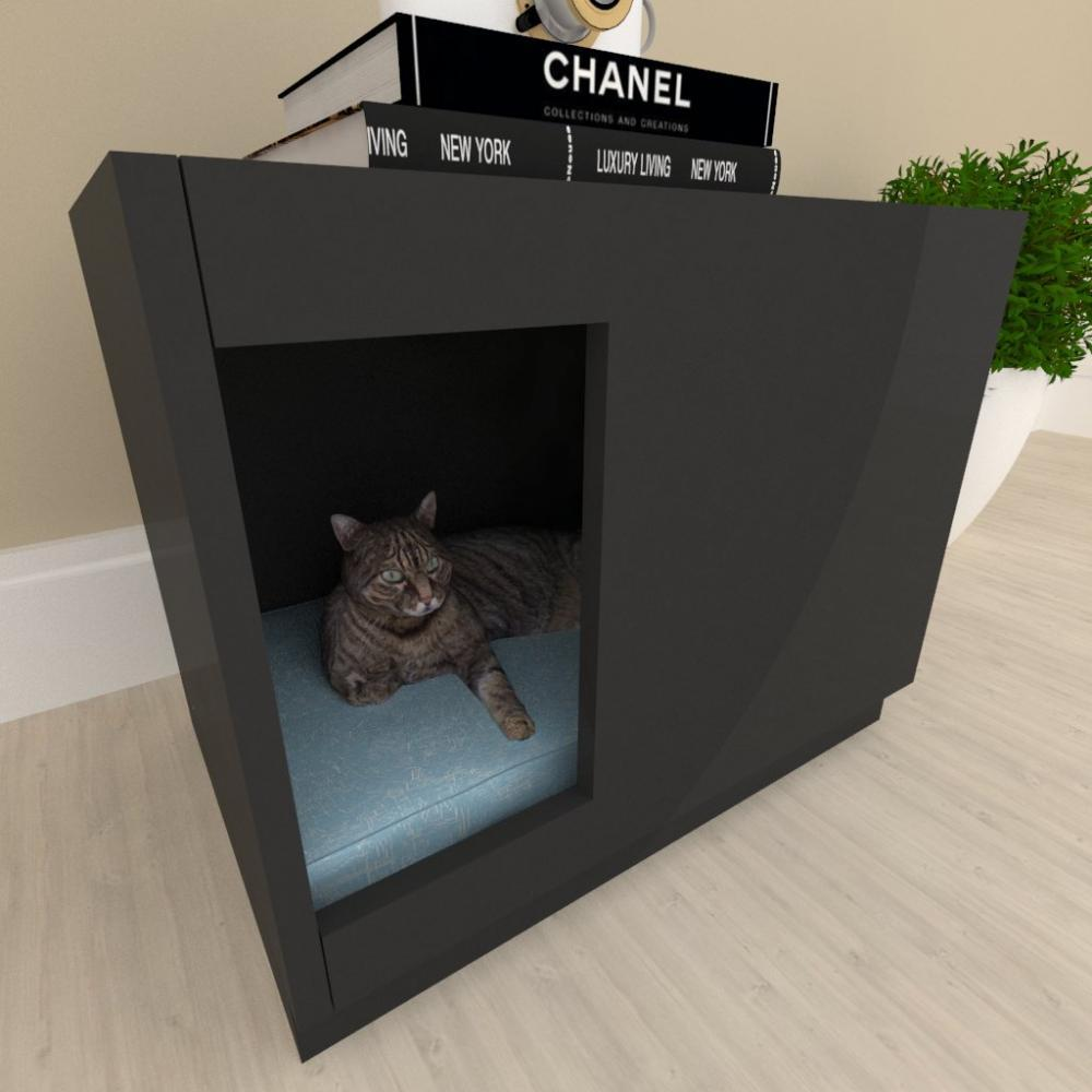 Casinha caminha para gato bercinho mdf preto