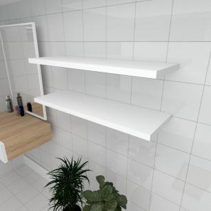 Kit 2 prateleiras para banheiro em MDF suporte Inivisivel branco 90x30cm modelo pratbnb20