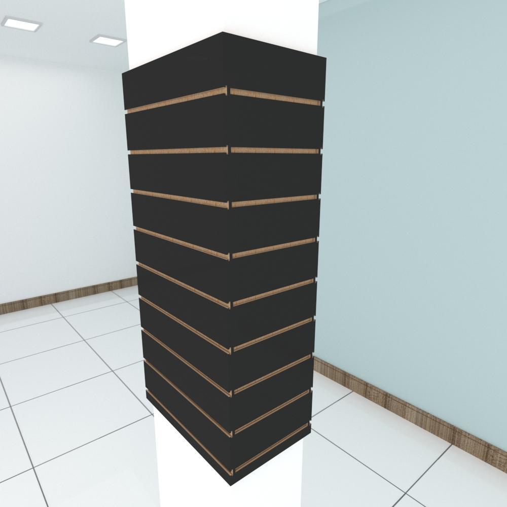Kit 4 Painel canaletado para pilar preto 2 peças 54(L)x120(A)cm + 2 peças 30(L)x120(A)cm