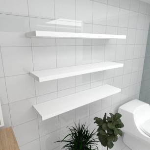 Kit 3 prateleiras para banheiro em MDF suporte Inivisivel branco 90x20cm modelo pratbnb27