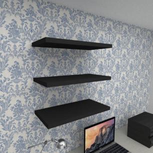 Kit 3 prateleiras para escritório em MDF suporte Inivisivel preto 60x30cm modelo pratesp24