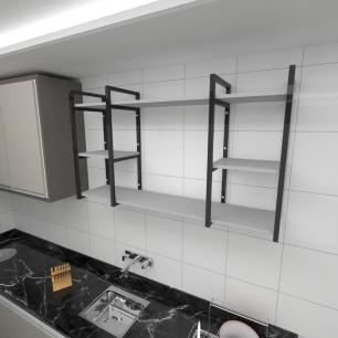 Prateleira industrial para cozinha aço cor preto prateleiras 30cm cor cinza modelo ind17cc