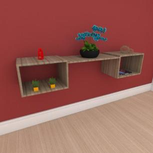 Rack minimalista moderno com nichos em mdf amadeirado