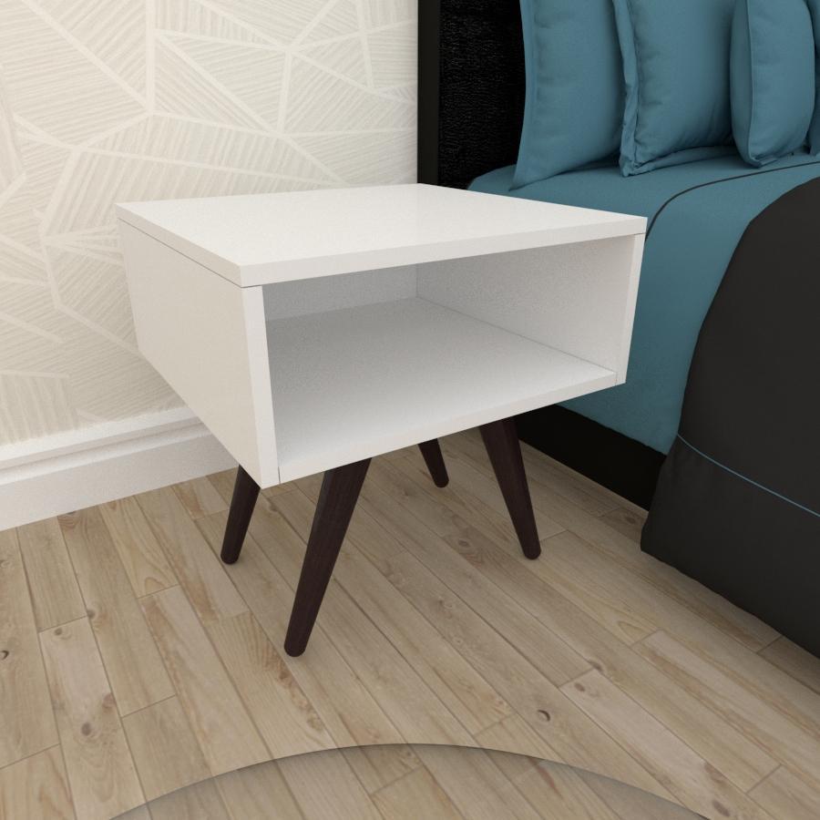 Mesa de Cabeceira em mdf branco com 4 pés inclinados em madeira maciça cor tabaco