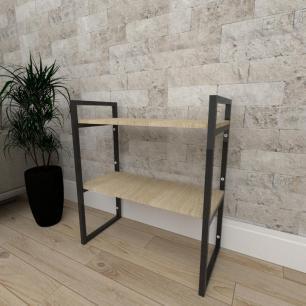 Mini estante industrial para sala aço cor preto mdf 30 cm cor amadeirado claro modelo ind08aceps