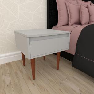 Mesa de Cabeceira com gaveta em mdf cinza com 4 pés retos em madeira maciça cor mogno