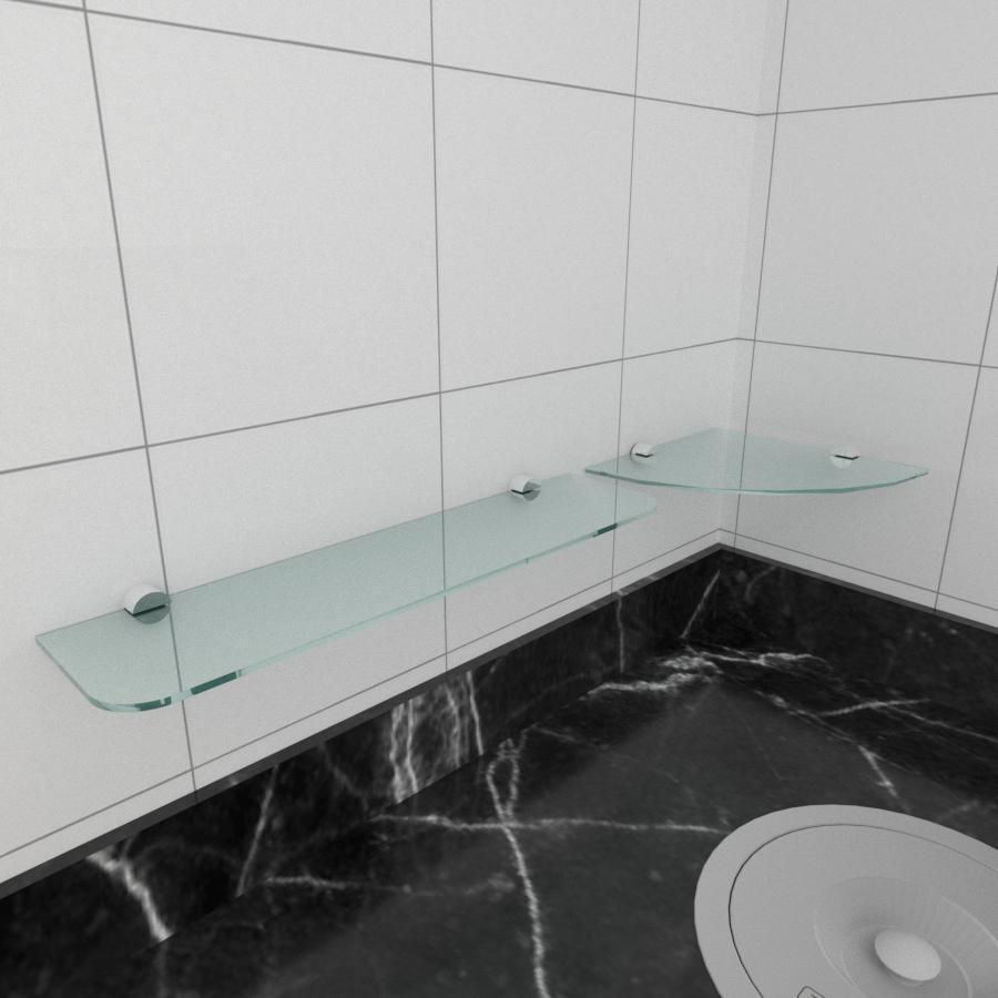 kit com 2 Prateleira de vidro temperado para cozinha 1 de 20 cm para canto e 1 de 40 cm reta
