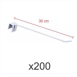 Kit com 200 ganchos 4mm branco de 30 cm para gondola, para porta gancheira 20x20 e 20x40