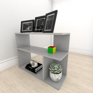 Mesa lateral para sofá formato simples em mdf Cinza
