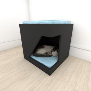 Mesa de cabeceira caminha bercinho para Gato em mdf Preto