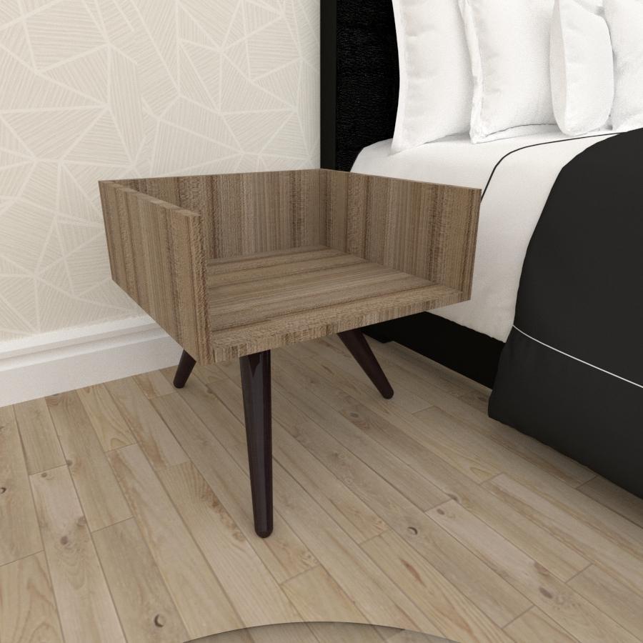 Mesa de Cabeceira minimalista mdf amadeirado escuro com 3 pés inclinados madeira maciça cor tabaco