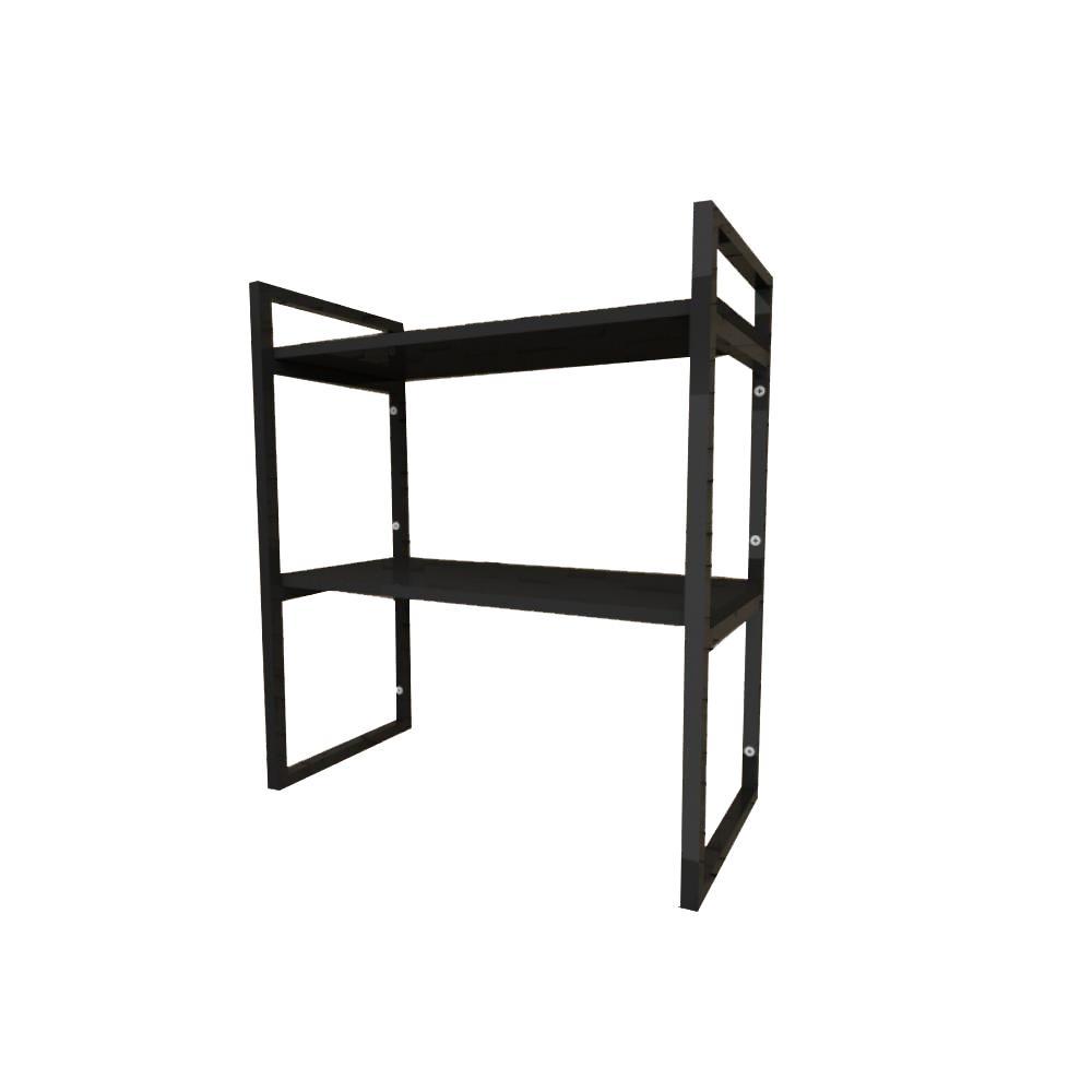 Prateleira industrial aço cor preto 30 cm MDF cor preto modelo indfb08psl