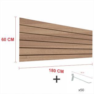 Kit Painel canaletado amadeirado alt 60 cm comp 180 cm mais 50 ganchos 20 cm